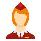 Stewardess icon in flat style isolated on white background. Work symbol vector illustration
