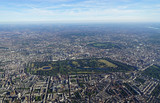 Aerial view of Central London and Hyde Park from an airplane window