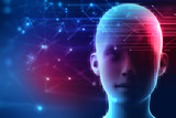 3d rendering of human  on geometric element technology backgroun