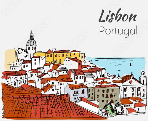 Lisbon cityscape - hand drawn sketch.