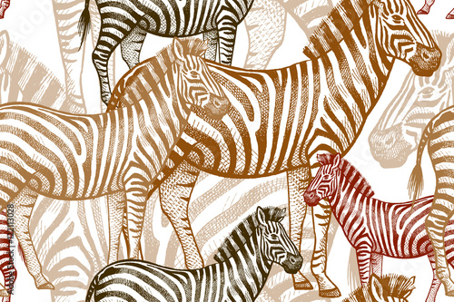 Materiał do szycia Seamless vector pattern with African animals. Colored Zebra on a white background. Template to create fabric, Wallpaper, paper, textiles, curtains, design summer clothes in the style of Safari.