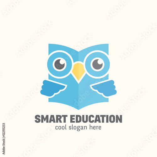 Smart Education Abstract Vector Logo Template. Learning Emblem. Flat Style Wise Owl Reading Book Concept with Typography.