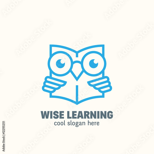 Foto op Canvas Uilen cartoon Line Style Smart Education Abstract Vector Logo Template. Learning Emblem. Outline Wise Owl Reading Book Concept with Typography.