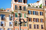 Buildings and windows in Spanish Square, Rome Italy