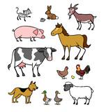 Viele Cartoon Tiere vom Bauernhof - 122121048