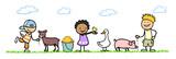 Kinder füttern Tiere im Streichelzoo - 122121083