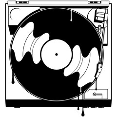 Record Player Dripping Ink A top down view of a black and white turntable playing a record with drips of ink.