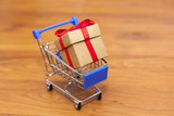Gift box on the shopping cart