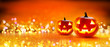 Halloween Pumpkin With Lights And Sparkle Bokeh Background