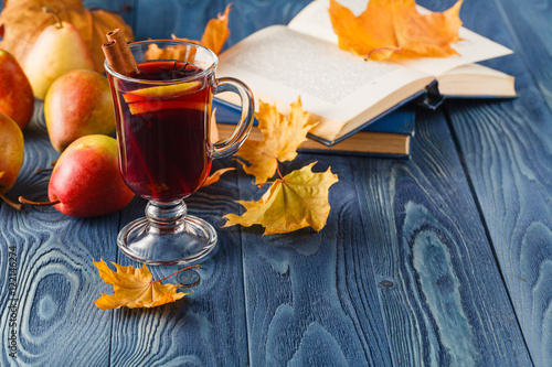Poster Autumn background with mulled wine and spices