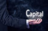 Businessman holding a Capital Concept - 122147274