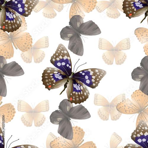 Deurstickers Vlinders in Grunge butterfly seamless white00