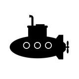 Black submarine vector icon on white background