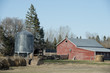 Barn and silo on a farm, Manitoba, Canada