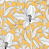 Seamless pattern with lily flowers.Colorful vector print.Textile texture