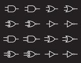 Digital logic gate symbols, white isolated on black background, vector illustration.