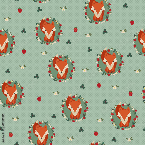 Cotton fabric Fox seamless background