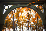 Gates in autumn. Beautiful gazebo surrounded by leaves, landscape