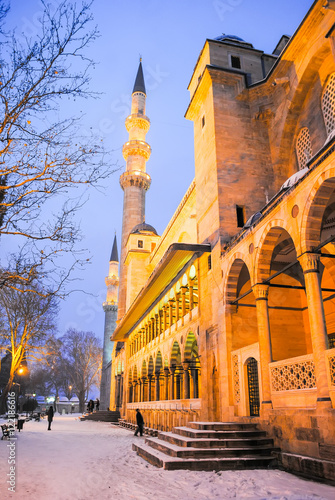 Night Turkish mosque during heavy rain Poster