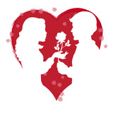 Silhouettes of Two Lovers with Rose