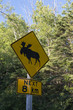Elk crossing sign, Riding Mountain National Park, Manitoba, Cana