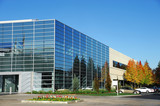 modern industrial building exterior and landscaping - 122203875