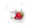 strawberry with milk splash