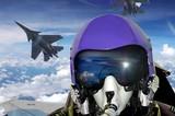 Jet fighter pilot cockpit view - 122216003