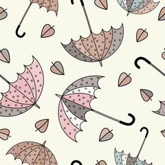 Umbrellas seamless pattern. Colorful vector illustration. Print. Repeating background. Cloth design, wallpaper.