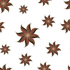 Stylized star anise seamless pattern. Brown elements on white background. Abstract texture. Vector illustration.