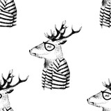 Seamless pattern with dressed up deer