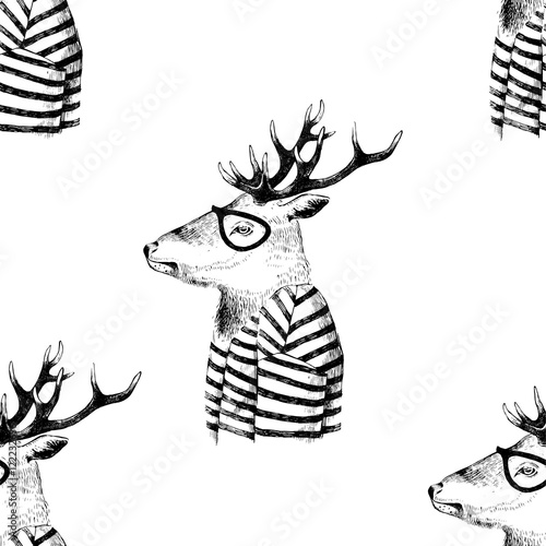 Seamless pattern with dressed up deer - 122232636