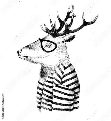 dressed up deer in hipster style - 122232694