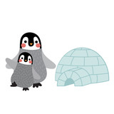Penguin mother and child in front of igloo animal cartoon character. Isolated on white background. Vector illustration.