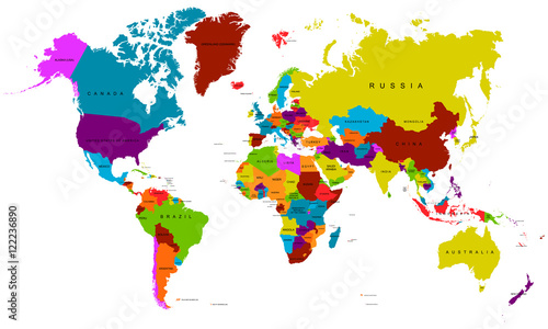 World map in rainbow colors. Vector illustration.