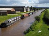 Narrow Boats Moored along the Shropshire Union Canal