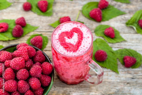 Foto op Aluminium Milkshake Blended smoothie, raspberry fresh fruits milkshake in a glass ja