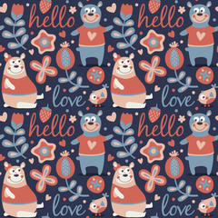Seamless cute animal autumn pattern made with bear, love, bee, flower, plant, leaf, berry, heart, friend, floral, nature, , acorn, mushroom, hello