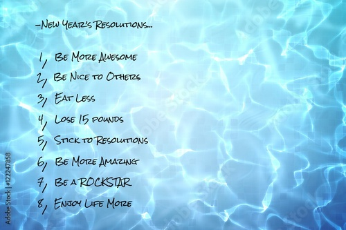 Poster funny new years resolutions list on pool water background