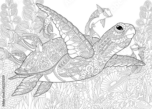 Stylized composition of turtle (tortoise), tropical fish, underwater seaweed and corals. Freehand sketch for adult anti stress coloring book page with doodle and zentangle elements.