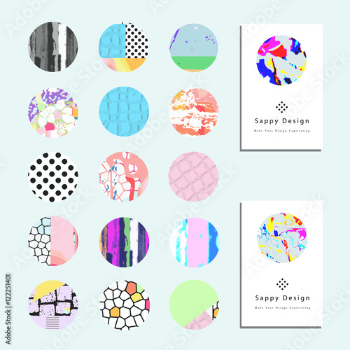Foto op Canvas Bloemen vrouw Artistic vector greeting cards design set. Colorful frame pattern texture, abstract template background for leaflet cover presentation, poster, invitation, placard, brochure, flyer, report, stationary