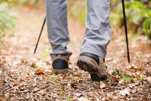 Male hiker walking with hiking pole
