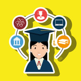 woman graduation college student vector illustration eps 10