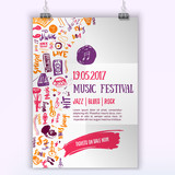 Fototapety Music concert vector poster template. Can be used for printable promotion with lettering and doodle items.