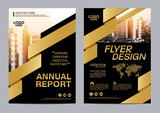 Fototapety Gold Brochure Layout design template. Annual Report Flyer Leaflet cover Presentation Modern background. illustration vector in A4 size