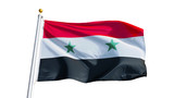 Syria flag waving on white background, close up, isolated with clipping path mask alpha channel transparency