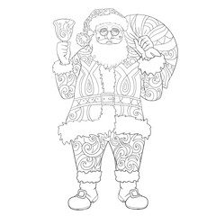 Santa Claus lineart for coloring book.