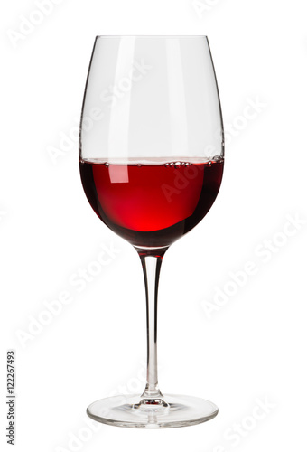 Fototapeta Glass of Red Wine on White