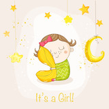 Baby Girl Sleeping with a Pillow - Baby Shower or Arrival Card - in vector