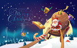 Santa with the bunch of presents riding on a sleigh in the winter forest. Polar Lights in the background. Winter village. Merry Christmas Lettering. Vector illustration.